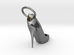 Right Foot Heel Earring in Polished Silver