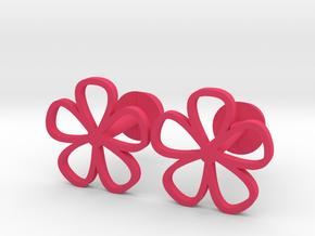 Floral cufflinks in Pink Processed Versatile Plastic