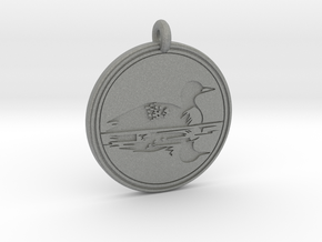 Common Loon Animal Totem Pendant in Gray PA12