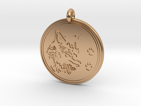 Coyote Animal Totem Pendant  in Polished Bronze