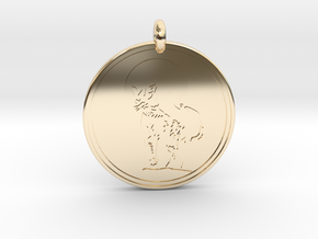 Cougar Animal Totem Pendant 2 in 14k Gold Plated Brass