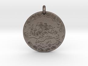 Desert Tortoise Animal Totem Pendant in Polished Bronzed-Silver Steel