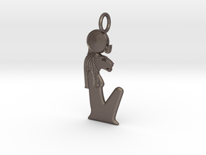 Sekhmet amulet in Polished Bronzed-Silver Steel