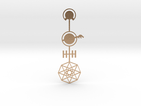 Tesseract Pendant flat in Natural Bronze
