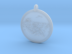 Gray Whale Animal Totem Pendant in Smooth Fine Detail Plastic