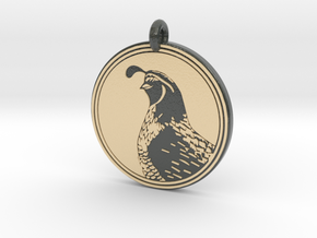Gambels Quail Animal Totem Pendant in Glossy Full Color Sandstone