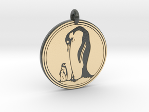 Emperor Penguin Animal Totem Pendant in Glossy Full Color Sandstone
