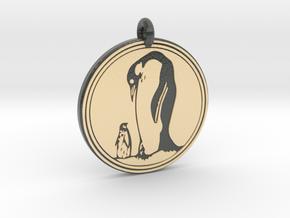 Emperor Penguin Animal Totem Pendant in Glossy Full Color Sandstone
