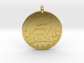 Elk Animal Totem Pendant in Polished Brass