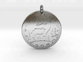 Elk Animal Totem Pendant in Polished Silver