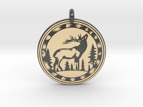 Elk Animal Totem Pendant in Glossy Full Color Sandstone