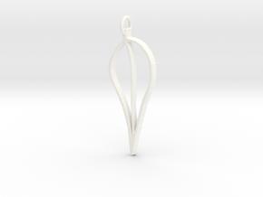 Leaf Pendant in White Processed Versatile Plastic