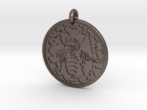 Honey Bee Animal Totem Pendant in Polished Bronzed-Silver Steel