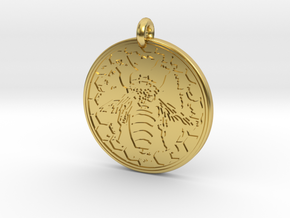 Honey Bee Animal Totem Pendant in Polished Brass