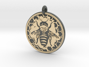 Honey Bee Animal Totem Pendant in Glossy Full Color Sandstone