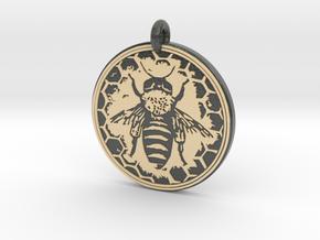 Honey Bee Animal Totem Pendant in Glossy Full Color Sandstone