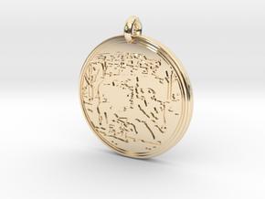 Javelina  Animal Totem Pendant 2 in 14k Gold Plated Brass