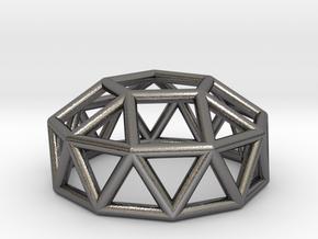 0785 J24 Gyroelongated Pentagonal Cupola #1 in Polished Nickel Steel