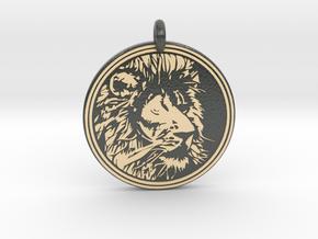 Lion Animal Totem Pendant in Glossy Full Color Sandstone