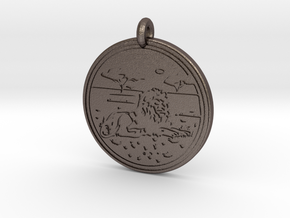Lion Animal Totem Pendant in Polished Bronzed-Silver Steel
