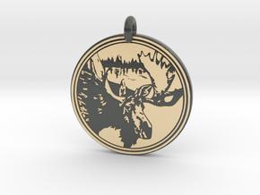 Moose Animal Totem Pendant 2 in Glossy Full Color Sandstone