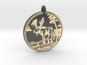 Moose Animal Totem Pendant in Glossy Full Color Sandstone