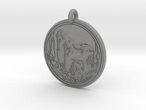 Mountain Gorilla Animal Totem Pendant in Gray PA12