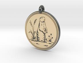 Prairie Dog Animal Totem Pendant in Glossy Full Color Sandstone