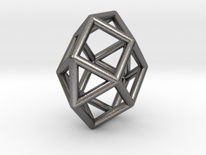 0797 J28 Square Orthobicupola (a=1cm) #1 in Polished Nickel Steel