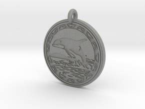 Orca Whale Animal Totem Pendant in Gray PA12