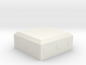 Concrete Bunker/Pillbox in White Natural Versatile Plastic: 1:64 - S