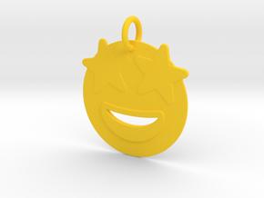 Star eyed emoji  Pendant in Yellow Processed Versatile Plastic