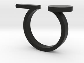 Minimal Line and Circle Ring in Black Natural Versatile Plastic: 4.5 / 47.75
