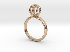 Single Round Cage Ring in 14k Rose Gold Plated Brass: 6 / 51.5