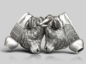 Swiss cow fighting #A - 30mm high in Antique Silver