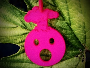 Mind Blown Emoji Pendant - Vibrant Colors in Pink Processed Versatile Plastic
