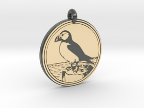 Puffin Animal Totem Pendant in Glossy Full Color Sandstone