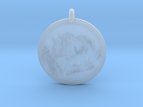Rhinoceros Animal Totem Pendant in Smooth Fine Detail Plastic
