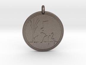 Sandhill Crane Animal Totem Pendant in Polished Bronzed-Silver Steel