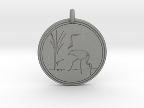 Sandhill Crane Animal Totem Pendant in Gray PA12