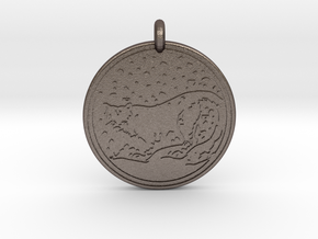Snow Leopard Animal Totem Pendant in Polished Bronzed-Silver Steel
