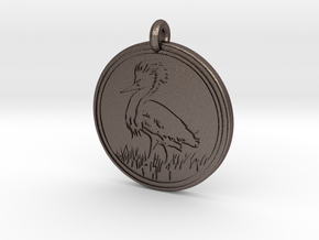 Snowy Egret Animal Totem Pendant  in Polished Bronzed-Silver Steel