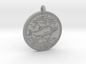 Sockeye Salmon Animal Totem Pendant in Aluminum