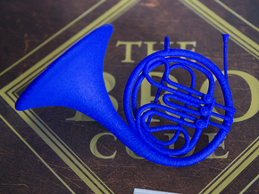 Blue French Horn Pendant in Blue Strong & Flexible Polished