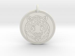 Tiger Animal Totem Pendant 2 in White Natural Versatile Plastic