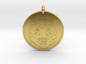 Tiger Animal Totem Pendant 2 in Polished Brass