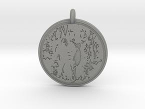 White tail Deer Animal Totem Pendant in Gray PA12
