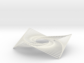 Hexagon Spiral Line Illusion V1 Tessellated Lines in White Natural Versatile Plastic