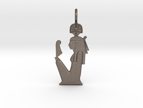Seshat amulet in Polished Bronzed-Silver Steel