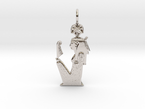 Seshat amulet in Rhodium Plated Brass